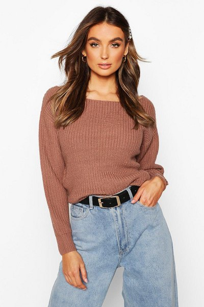 Boohoo Slash Neck Crop Fisherman sweater in mocha