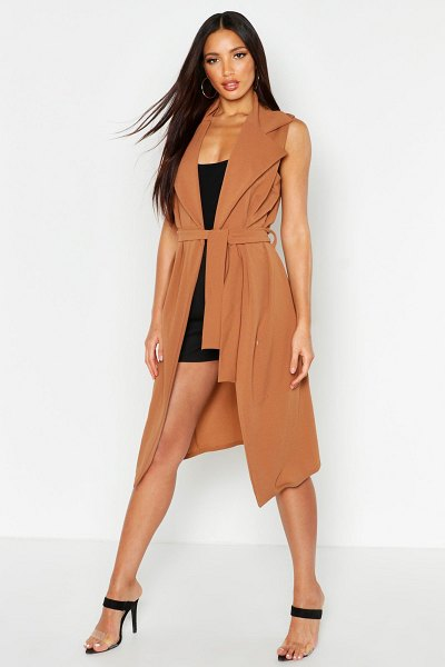 Boohoo Sleeveless Belted Duster in camel