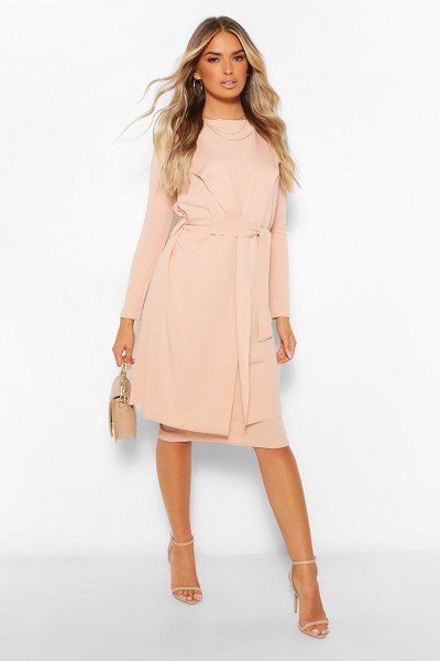 Boohoo Sleeveless Belted Duster And Midi Dress Set in stone
