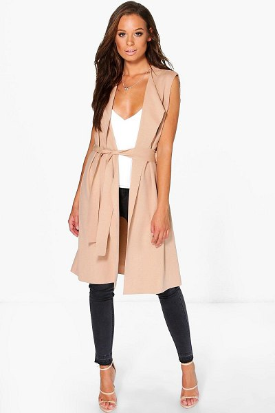 Boohoo Sleeveless Belted Duster in stone
