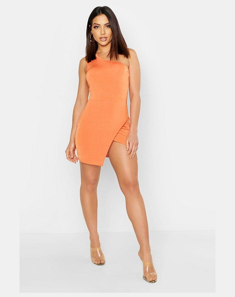 Boohoo Slinky One Shoulder Split Mini Dress in terracotta