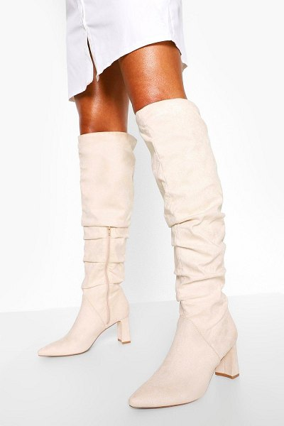 Boohoo Slouched Low Block Heel Over The Knee Boots in stone