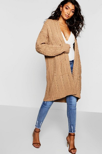 Boohoo Slouchy Cable Knit Cardigan in camel