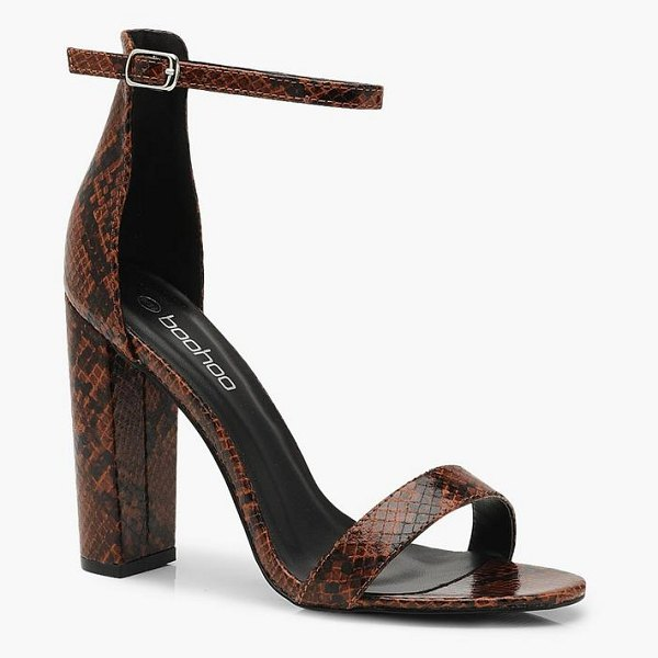 Boohoo Snake 2 Part Block Heels in brown