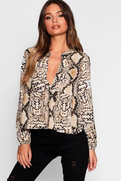 Boohoo Snake Plunge Woven Smock Top in beige - Steal the style top spot in a statement separate from...