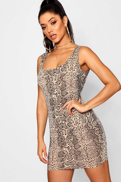 Boohoo Snake Print Bodycon Mini Dress in mocha - Dresses are the most-wanted wardrobe item for...