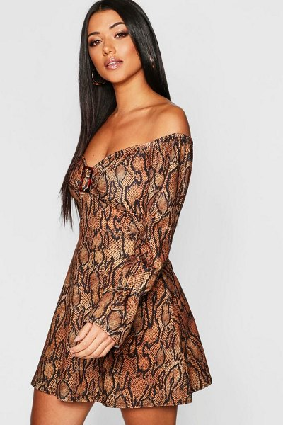 Boohoo Snake Print Buckle Detail Dress in brown - Dresses are the most-wanted wardrobe item for...