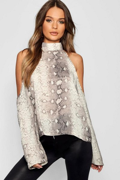 Boohoo Snake Print Cold Shoulder Top in stone