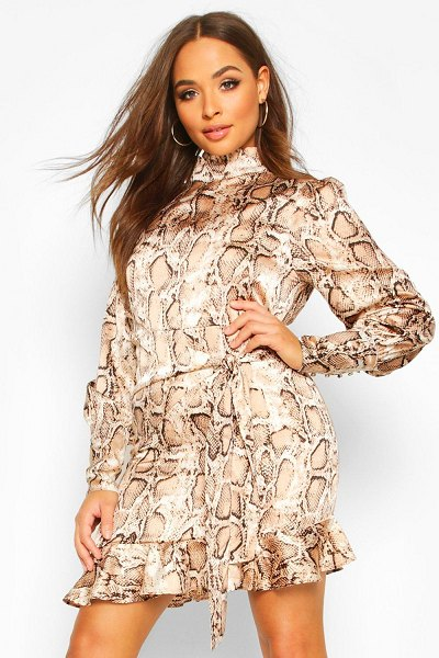 Boohoo Snake Print Cowl High Neck Mini Dress in brown