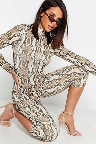 Boohoo Snake Print High Neck Unitard in mocha