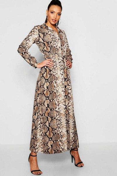Boohoo Snake Print Maxi Shirt Dress in taupe - Dresses are the most-wanted wardrobe item for...