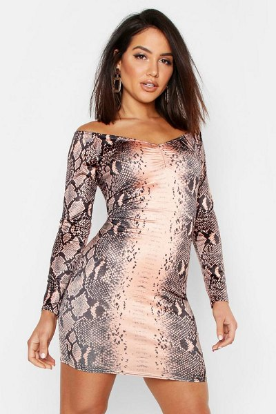 Boohoo Snake Print Off The Shoulder Bodycon Dress in chocolate - Dresses are the most-wanted wardrobe item for...