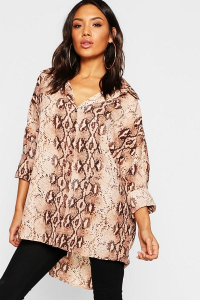 Boohoo Snake Print Oversized Shirt in brown - Steal the style top spot in a statement separate from...