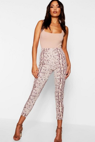 Boohoo Snake Print Skinny Pants in stone - Trousers are a more sophisticated alternative to...