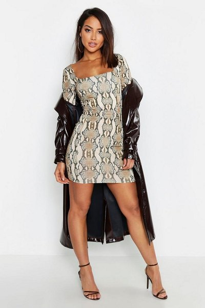 Boohoo Snake Print Slinky Seam Detail Bodycon Dress in mocha - Dresses are the most-wanted wardrobe item for...