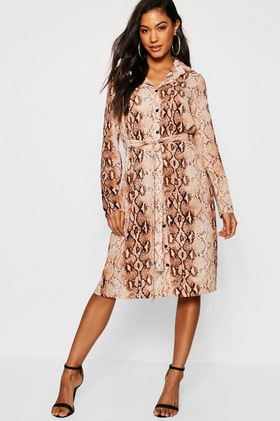 Boohoo Snake Print Woven Belted Shirt Dress in brown - Dresses are the most-wanted wardrobe item for...