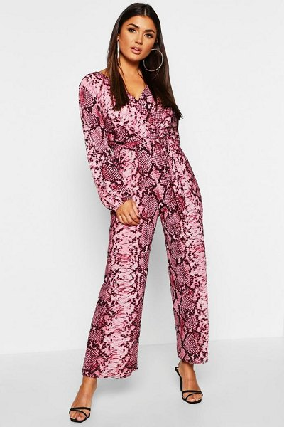Boohoo Snake Print Wrap Belted Jumpsuit in pink - Snake Print Wrap Belted Jumpsuit