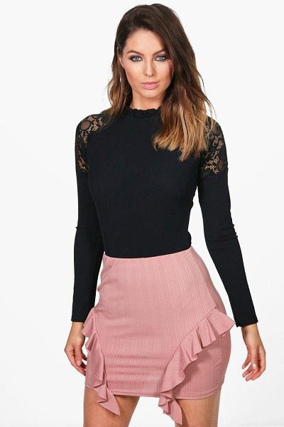 Boohoo Sofia Ribbed Ruffle Side Mini Skirt in rose - Skirts are the statement separate in every wardrobe This...