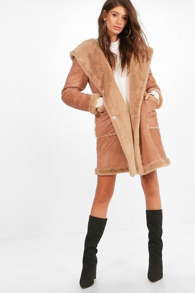 Boohoo Sofie Bonded Faux Fur Hooded Coat in camel - Wrap up in the latest coats and jackets and get...