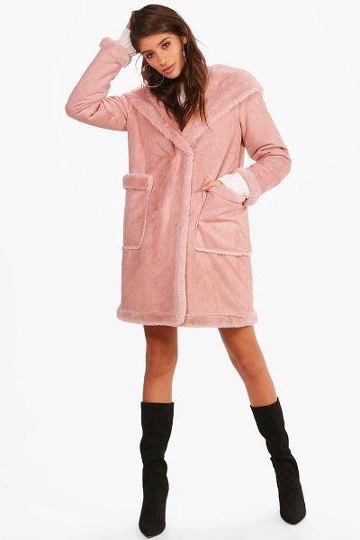 Boohoo Sofie Bonded Faux Fur Hooded Coat in dusky pink - Wrap up in the latest coats and jackets and get...