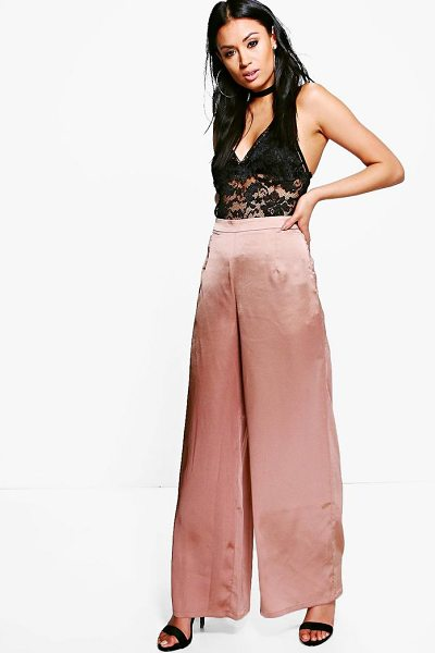 BOOHOO Sofie Satin Wide Leg Trousers - Trousers are a more sophisticated alternative to...