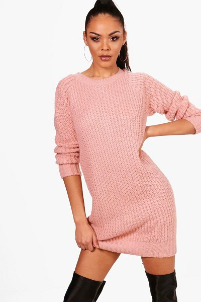 Boohoo Soft Knit Sweater Dress in blush