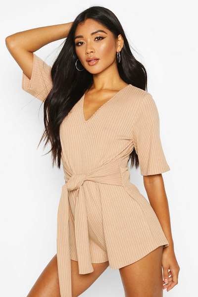 Boohoo Soft Ribbed Tie Waist Romper in taupe