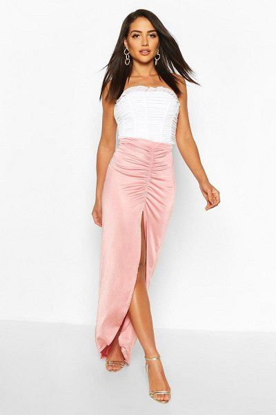 Boohoo Soft Touch Ruched Maxi Skirt in mauve