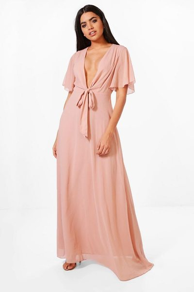 Boohoo Sophia Bow Front Chiffon Maxi Dress in blush - Dresses are the most-wanted wardrobe item for...
