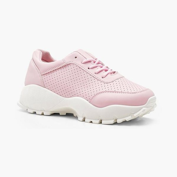 Boohoo Cleated Chunky Sole Trainers in baby pink - We'll make sure your shoes keep you one stylish step...