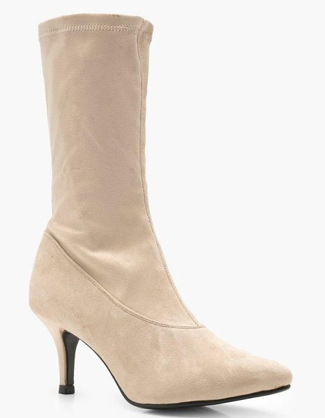 Boohoo Low Heel Pointed Sock Boots in beige