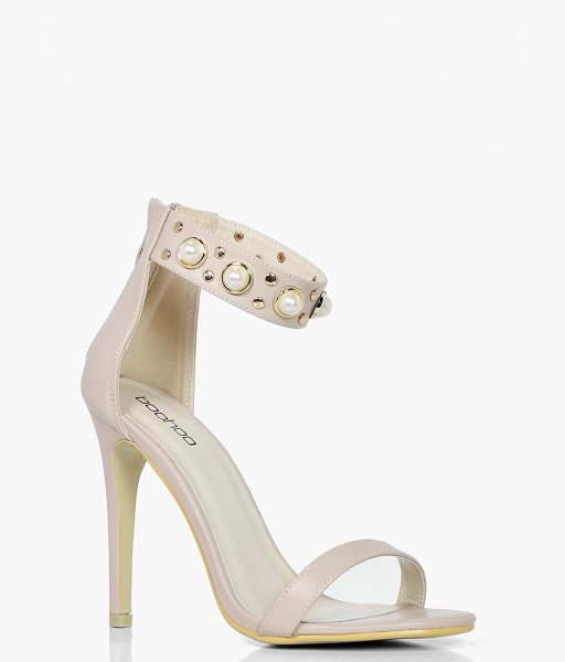 Boohoo Sophie Pearl & Stud Embellished 2 Part Heels in nude - We'll make sure your shoes keep you one stylish step...