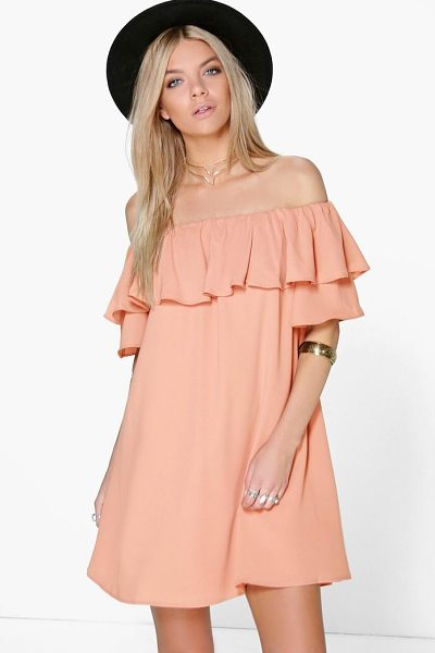 Boohoo Sophie Ruffle Off Shoulder Woven Dress in blush - Dresses are the most-wanted wardrobe item for...