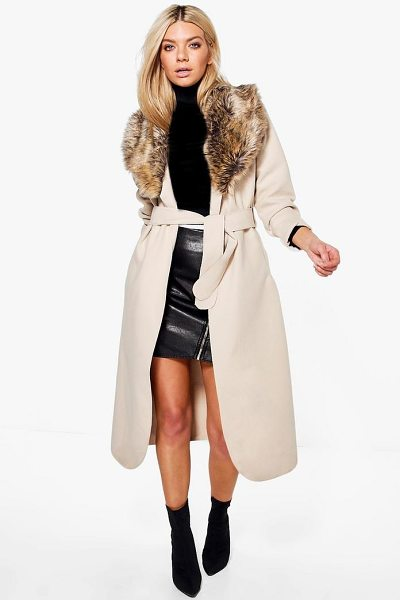 BOOHOO Sophie Shawl Faux Fur Collar Maxi Coat - Wrap up in the latest coats and jackets and get...
