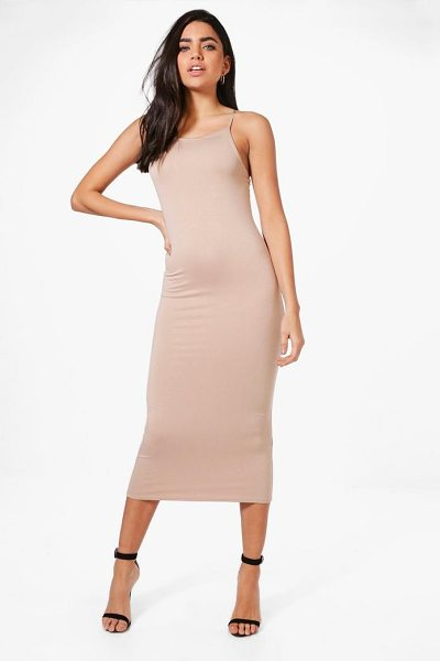 Boohoo Sophie Strappy Bodycon Midaxi Dress in sand - Dresses are the most-wanted wardrobe item for...