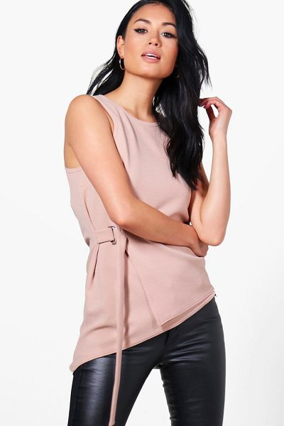 Boohoo Sophie Wrap Front D Ring Top in stone - Steal the style top spot in a statement separate from...
