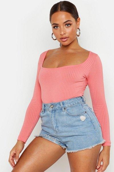 Boohoo Square Neck Rib Knit Long Sleeve one piece in coral
