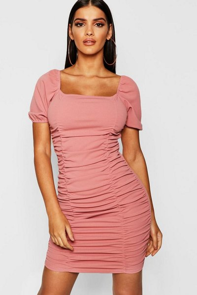Boohoo Square Neck Ruched Detail Bodycon Dress in rose - Dresses are the most-wanted wardrobe item for...