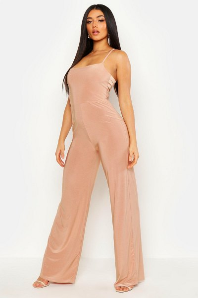 Boohoo Square Neck Wide Leg Jumpsuit in mocha
