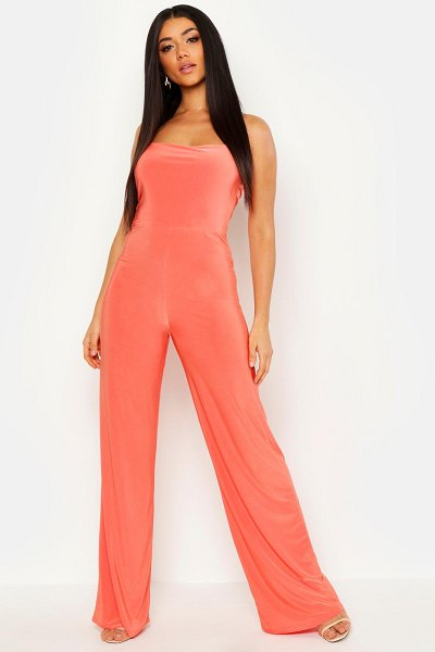 Boohoo Square Neck Wide Leg Jumpsuit in coral