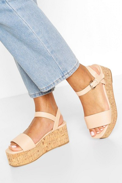 Boohoo Square Toe 2 Part Flatforms in nude