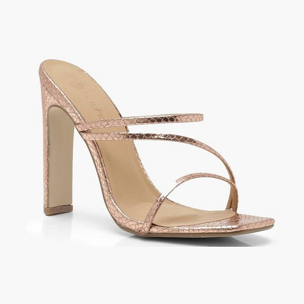 Boohoo Square Toe Cushion Flat Heel Mules in rose gold - We'll make sure your shoes keep you one stylish step...