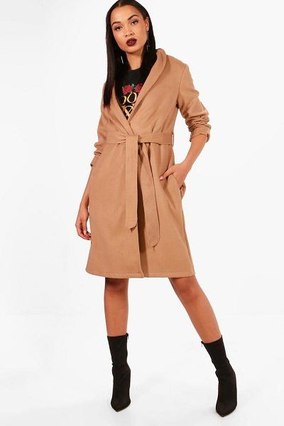 Boohoo Belted Wool Look Coat in camel - Wrap up warm in the latest wool look outerwear. A...