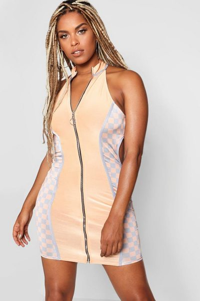 Boohoo Zip Through Cut Out Dress in apricot - Dresses are the most-wanted wardrobe item for...
