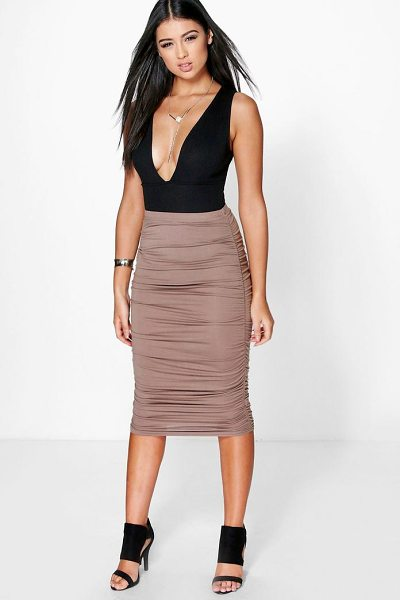 BOOHOO Steph Rouched Side Jersey Midi Skirt - Skirts are the statement separate in every wardrobe This...