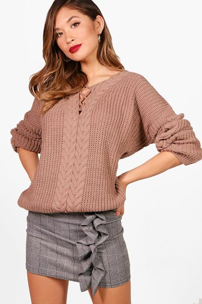 Boohoo Stephanie Lace Up Cable Detail Jumper in mink