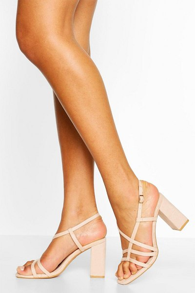 Boohoo Strappy Block Heel Sandals in nude