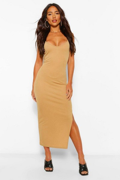 Boohoo Strappy Bodycon Midaxi Dress in camel