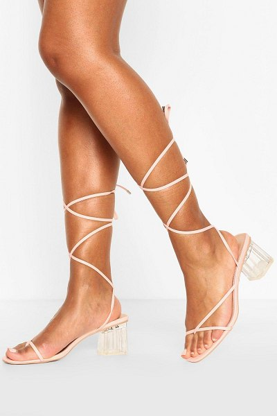 Boohoo Strappy Clear Low Block Heels in pink