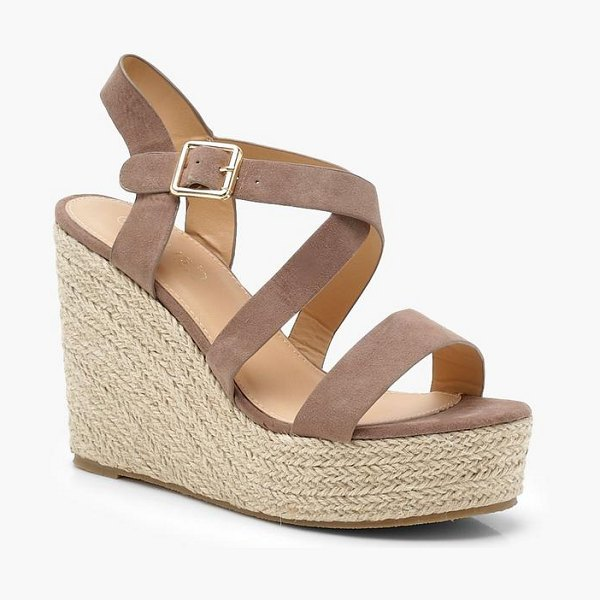 Boohoo Strappy Espadrille Wedges in mocha - We'll make sure your shoes keep you one stylish step...